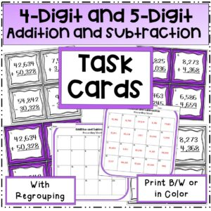 4-digit and 5-Digit addition and subtraction task cards