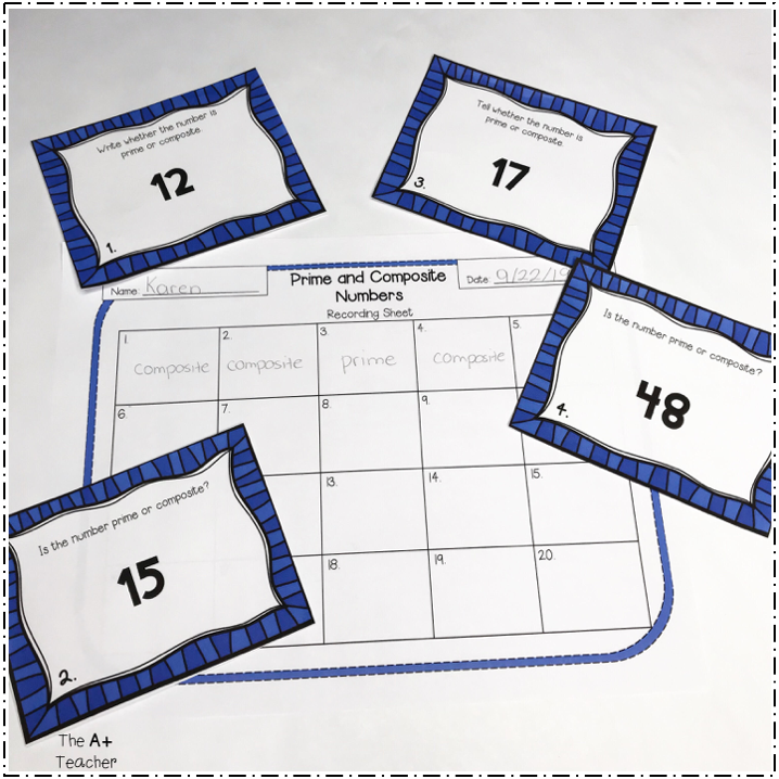 Prime and Composite Numbers Task Cards with Recording Sheet